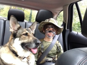 The Boy and Timber heading out to Trick or Treat