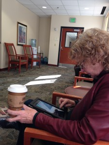 Mom hanging out in one of the waiting rooms.