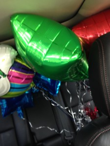 Car full of balloons!